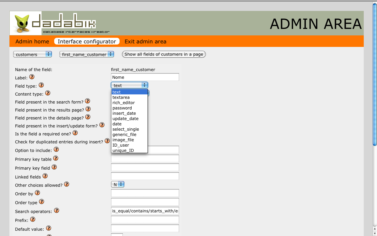 Create your Web database applications with DaDaBIK /img/01_dadabik_admin2.png