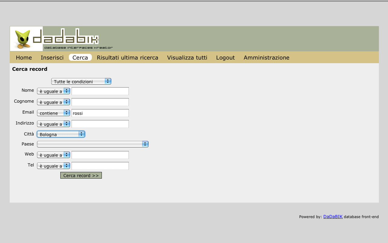 Create your Web database applications with DaDaBIK /img/02_dadabik_search_customer1.png