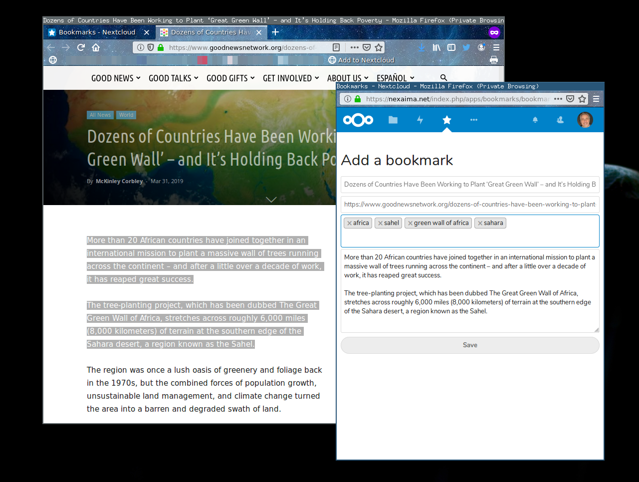 NextCloud 16 review /img/figure-07-nextcloud-bookmarklet.png