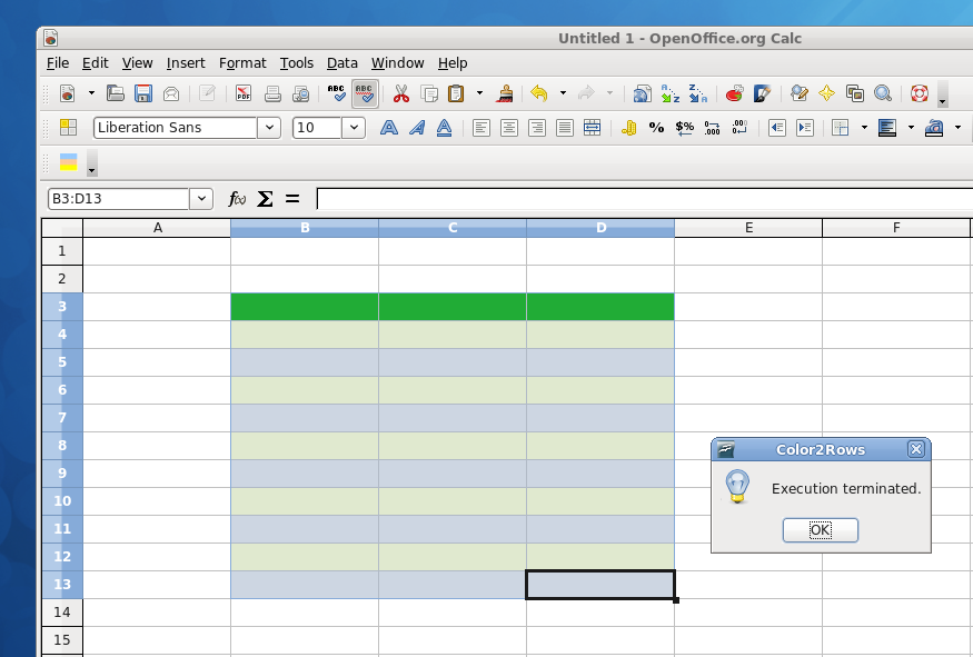 How to quickly apply color schemes to a spreadsheet with OpenOffice or LibreOffice /img/table_colored_Color2rows.png
